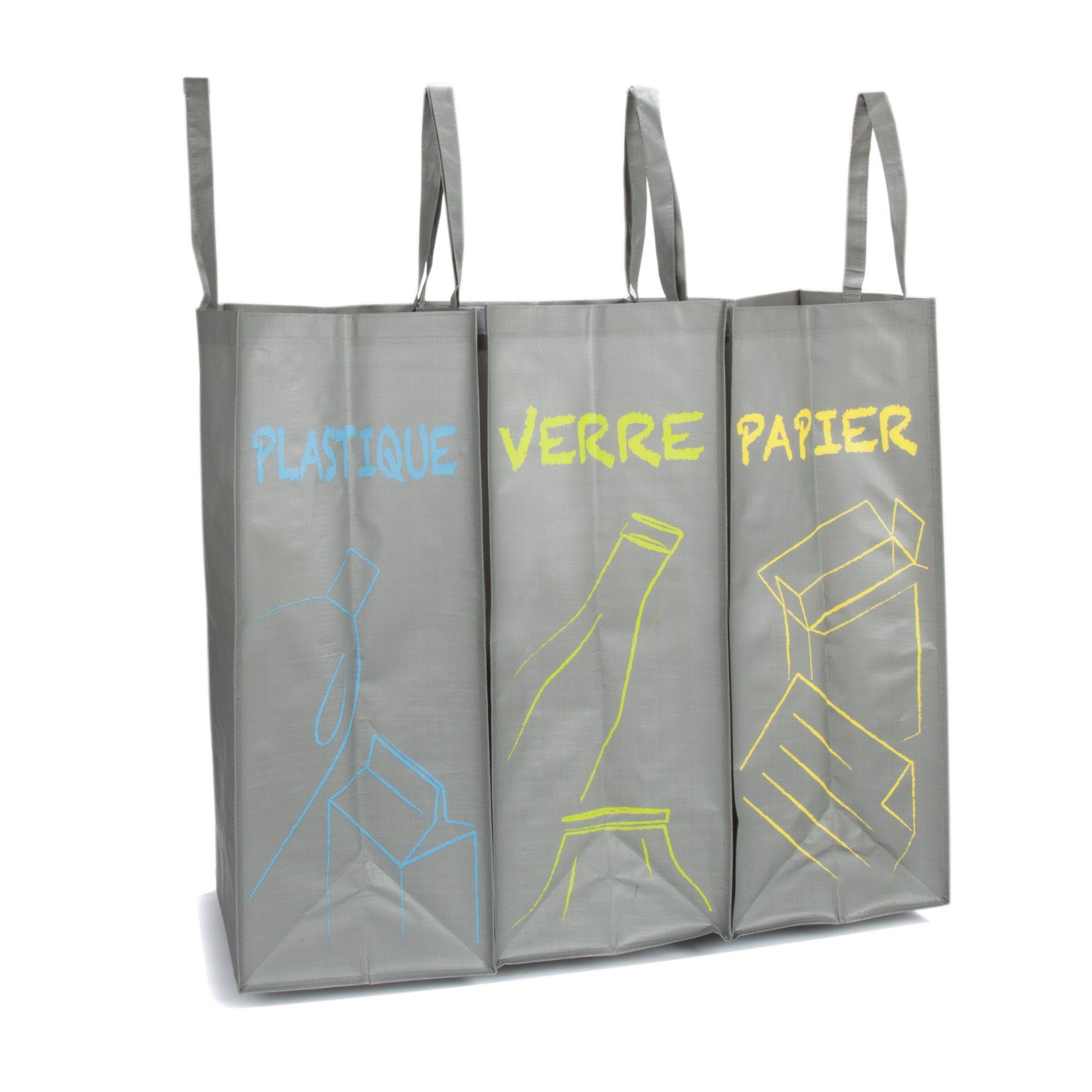 Lot De 3 Sacs De Tri A Velcro Gris Recybag Les Poubelles De