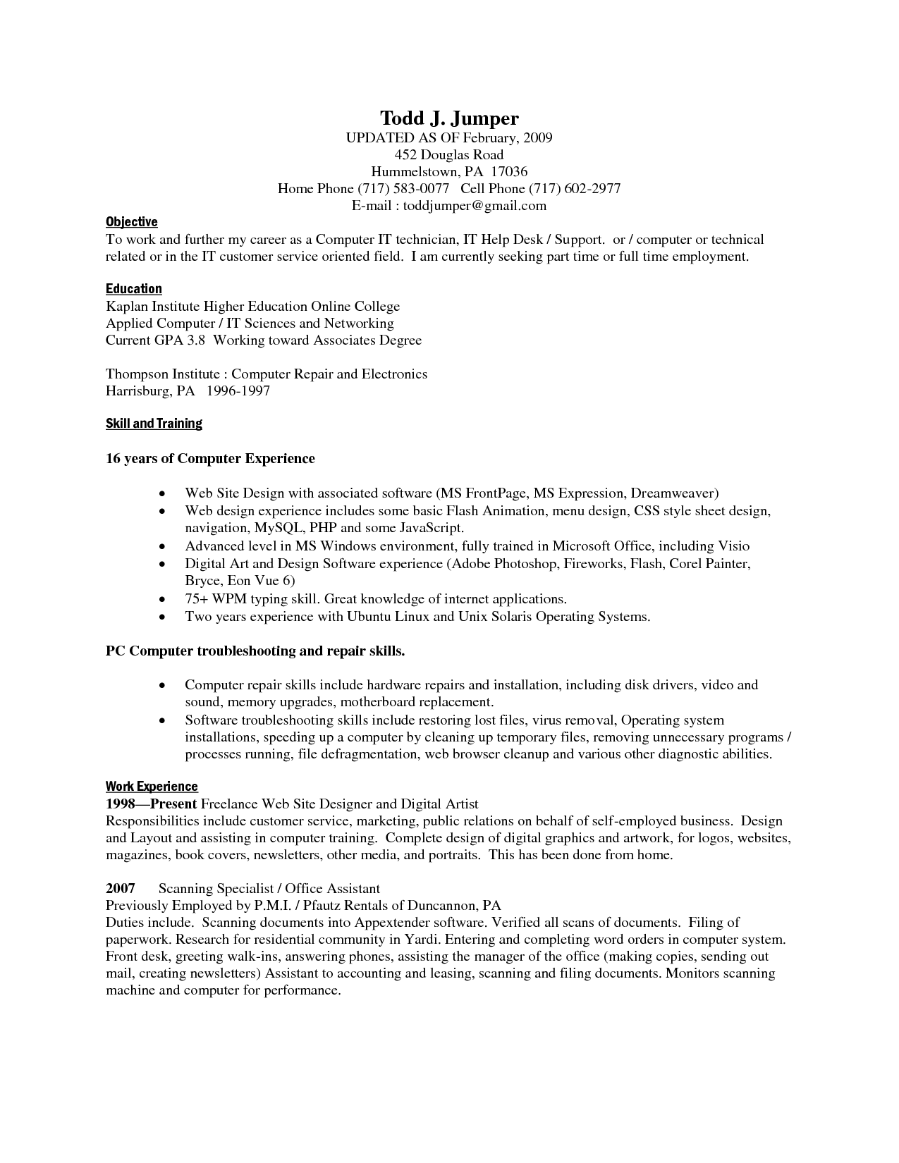 puter Skills Sample Resume o