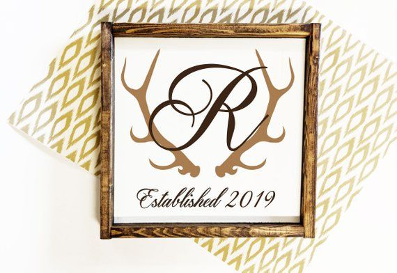 Monogram Wood Sign with Last Name 898ebf43d