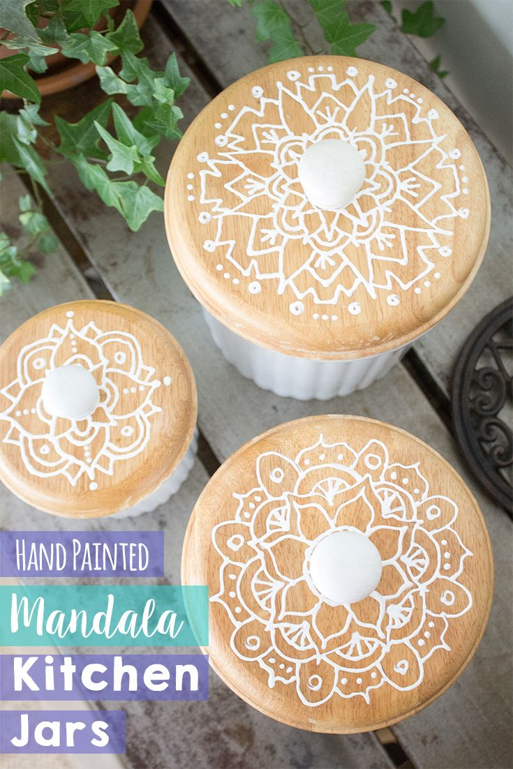 DIY bohemian kitchen decor idea. Just sketch a mandala design onto any kitchen object and trace with white puffy paint. Tutorial on the blog!