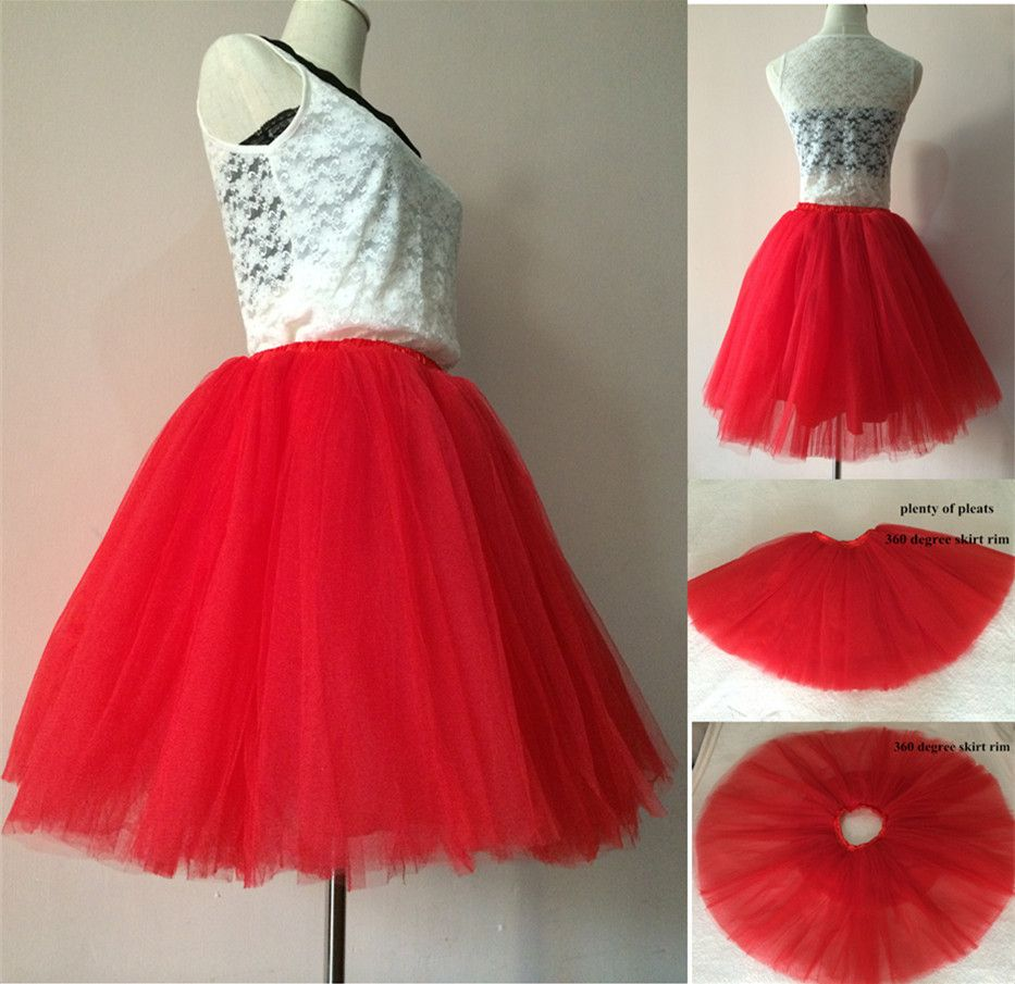 7 Layers Korean Women Puffy High Waist Mesh Tulle Short Tutu Skirt American Apparel Party Red
