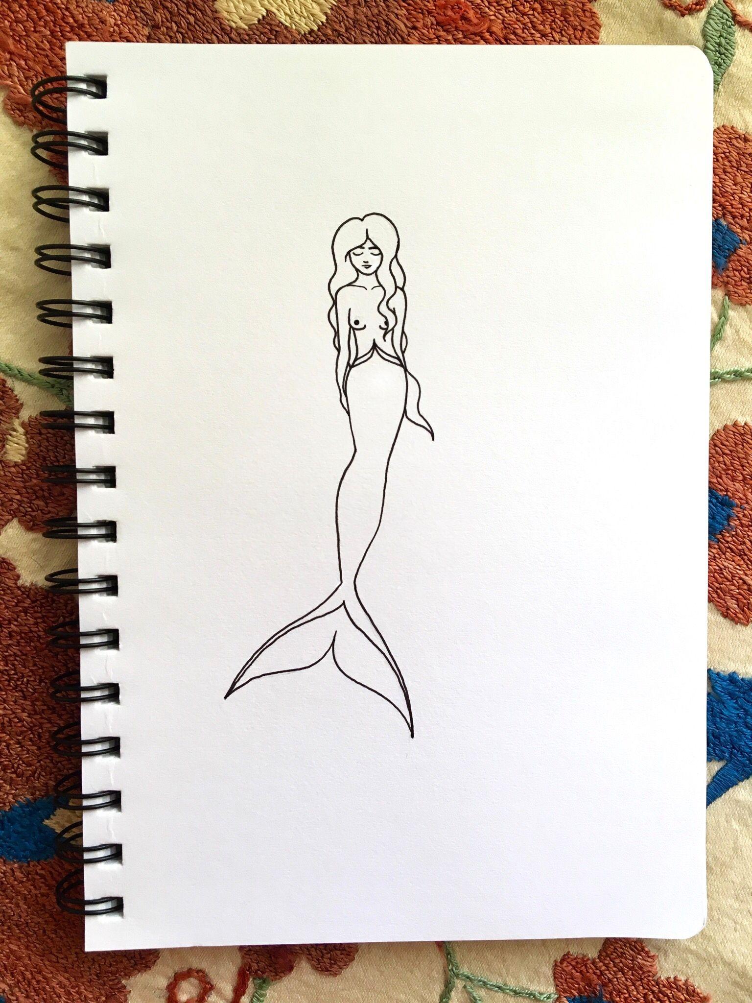Mermaid pen line drawing #art #sketch #drawingideas #mermaid #tattoo