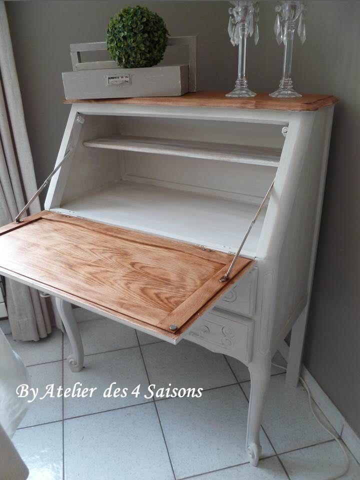 secr taire style louis xv en ch ne patin gris perle blanc poudr plateau prot g par 3 couches. Black Bedroom Furniture Sets. Home Design Ideas