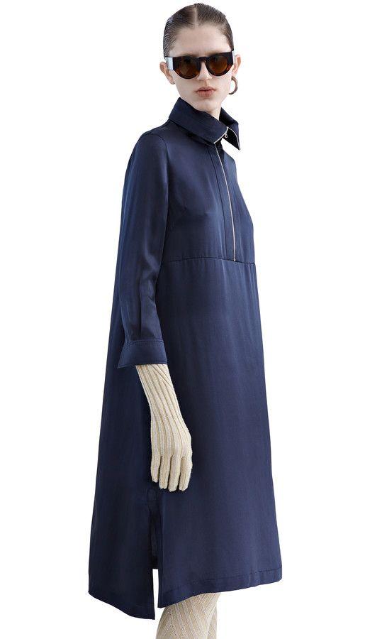 Burnell zippered polo neck dress in silk satin #AcneStudios #PreFall2015