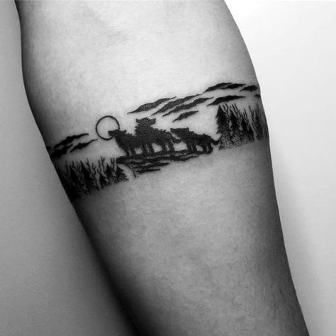 Wolves In Nature Mens Small Forearm Band Tattoos ...
