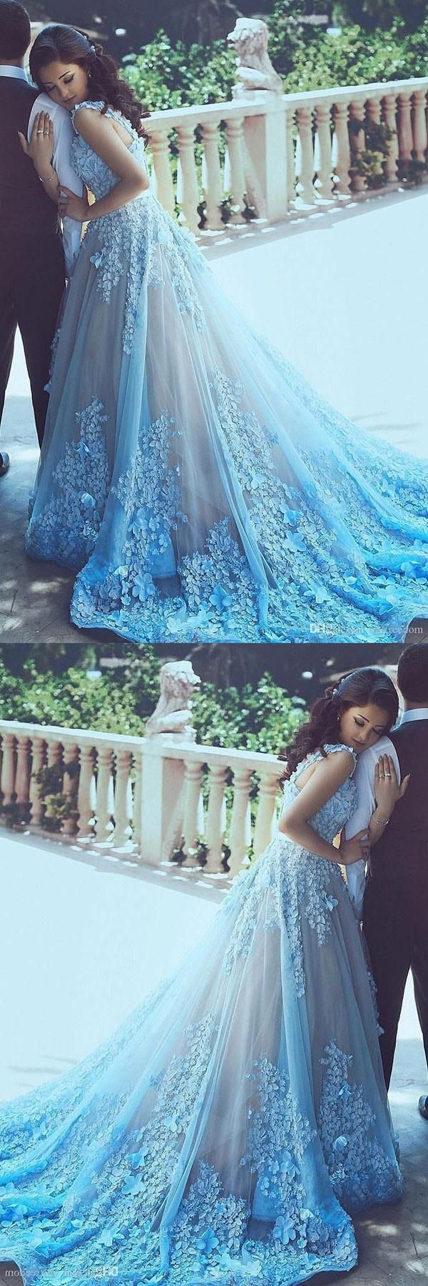 Wedding dresses with blue  Cathedral Train Wedding Dresses Blue Cathedral Train Wedding