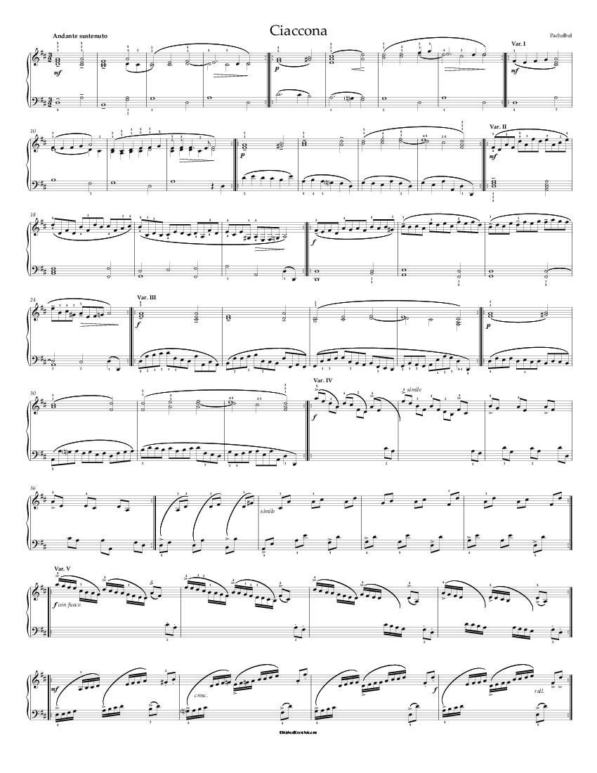 Free Piano Sheet Music Pachelbel Ciaccona With Five Variations