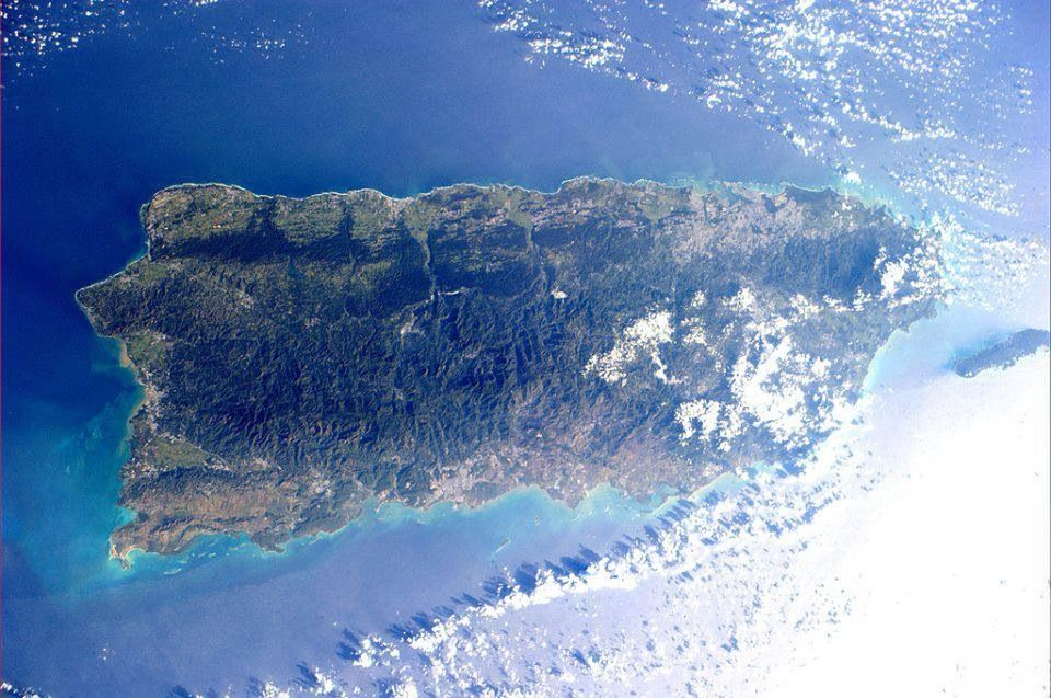 The island of Puerto RIco from space