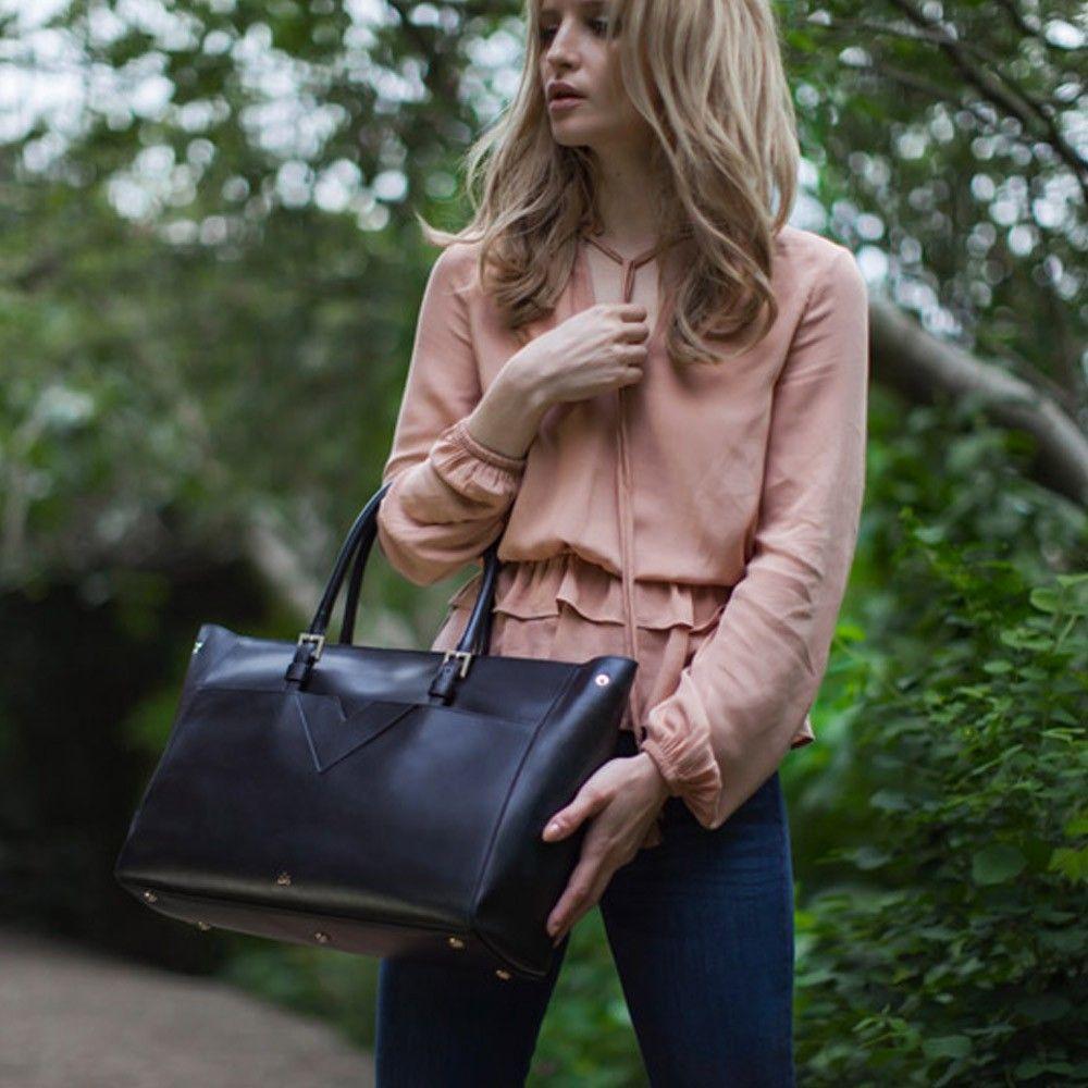 Milli Millu Luxury Handbags The Phoenix In Black Saffiano Leather