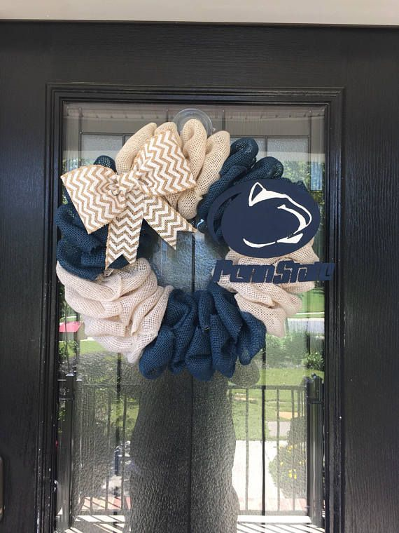 Photo of Burlap Wreath navy and white burlap; Penn State Wreath, Can be personalized with a logo