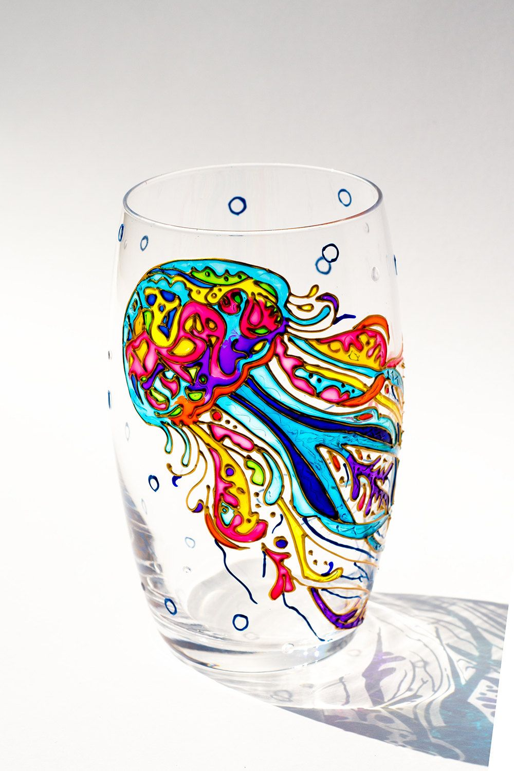 Jellyfish Hand Painted Drinking Glasses, Stemless Wine Glasses ...
