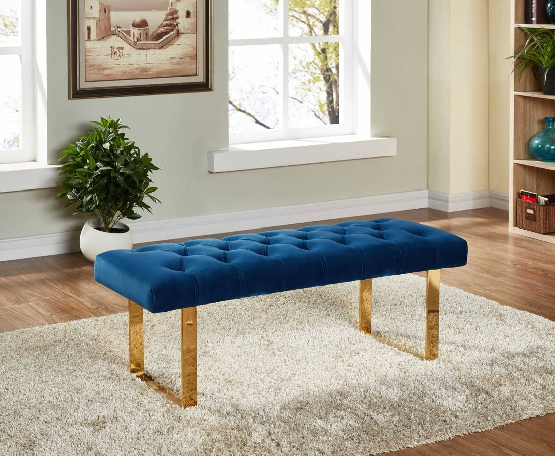 Brilliant Ethan Navy Velvet Gold Stainless Steel Bench Traditional Ibusinesslaw Wood Chair Design Ideas Ibusinesslaworg