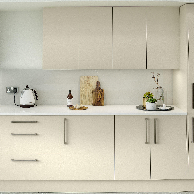 Modern Kitchen With Cream Gloss Doors And Granite Worktop Cgi