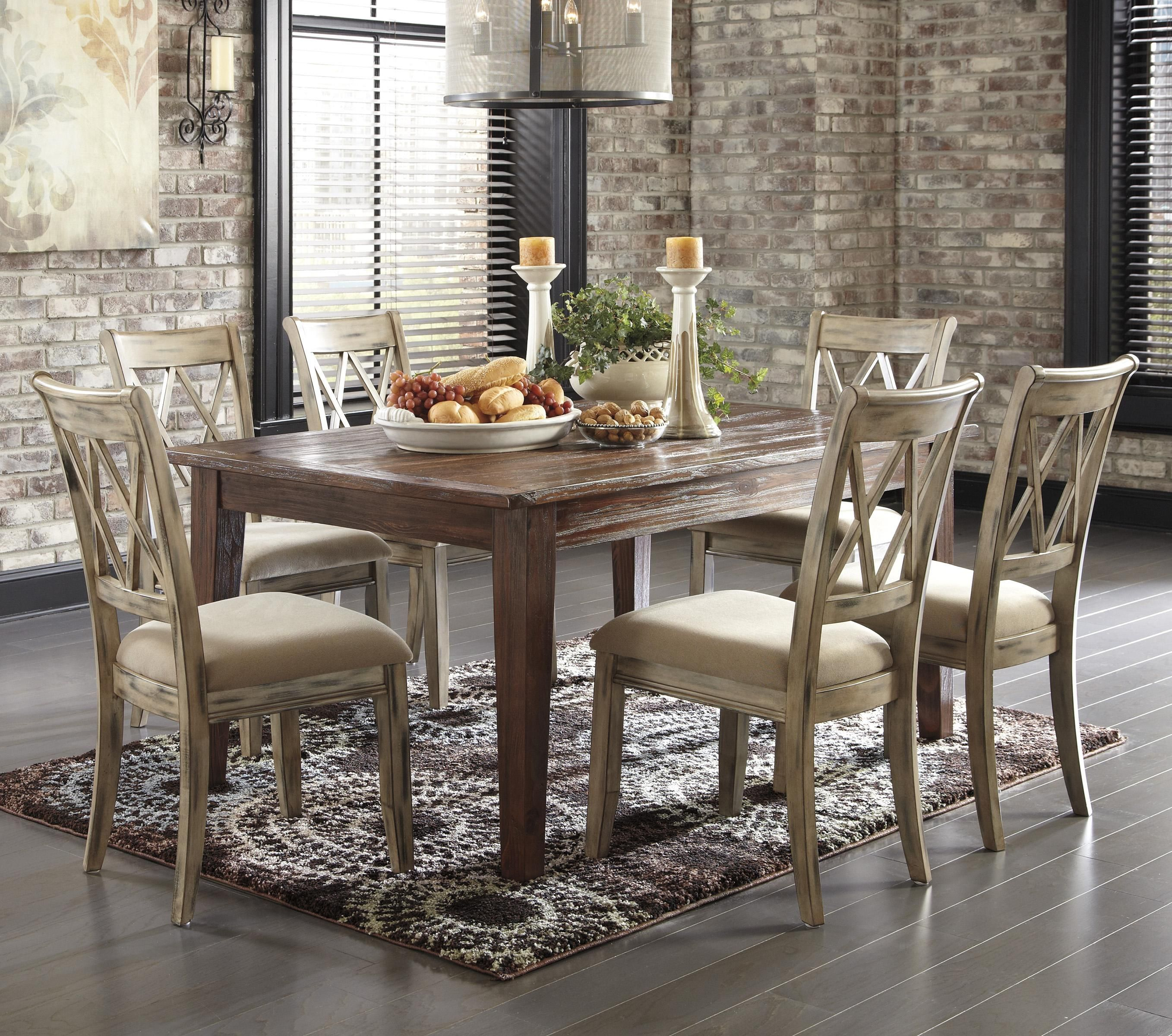 Dining room table with antique white chairs