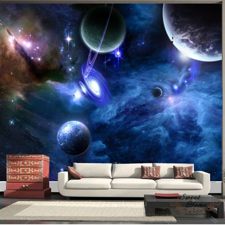Universe planet space full wall mural print decal for Space wallpaper for kids room