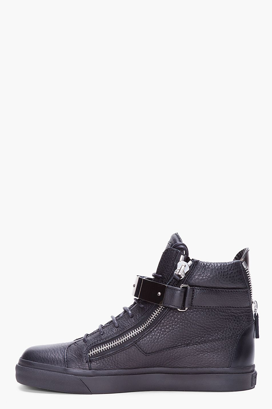 GIUSEPPE ZANOTTI // Black Velcro Bar Sneakers High-top pebbled leather  sneakers in black