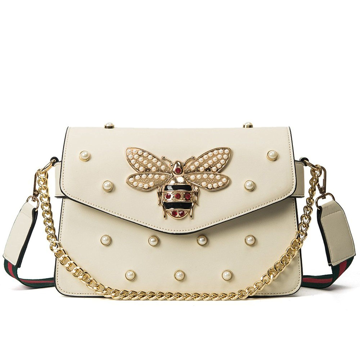 Women Messenger Bags Little bee Handbags crossbody bags Shoulder Bags  Designer Handbags with pearl: Handbags
