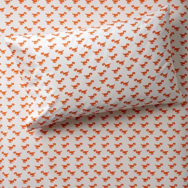 Organic Orange Dinosaur Pillowcase + Reviews | Crate and Barrel