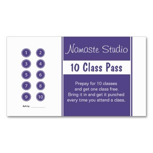 Yoga class punch card business card templates | bizcardstudio.
