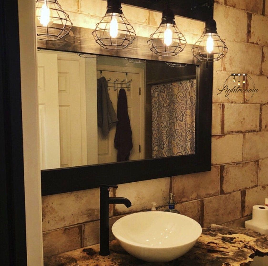 Black mirror farmhouse wood frame mirror rustic wood