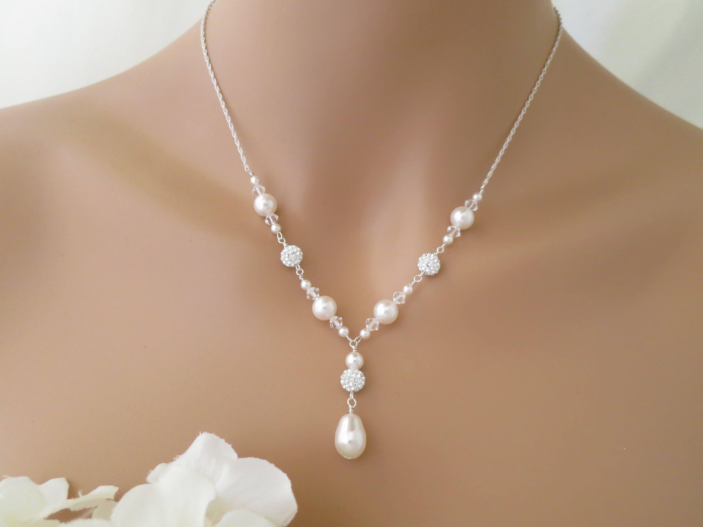 Sterling Silver Crystal AB Pear Teardrop Pendant Necklace wth Swarovski Elements