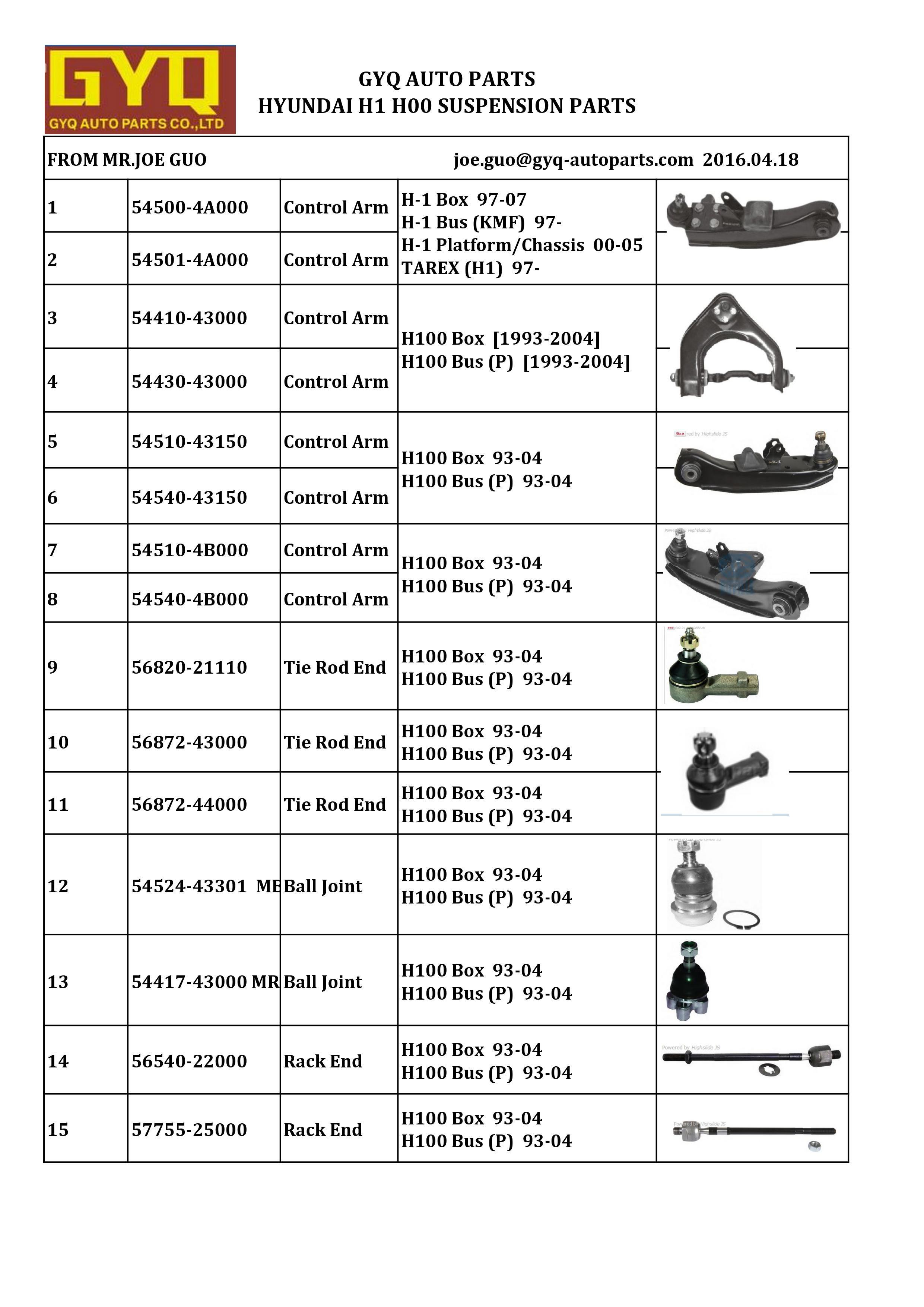 Hyundai H100 Box/Bus (P) / 07 93 Suspension Parts,Control Arm,Ball