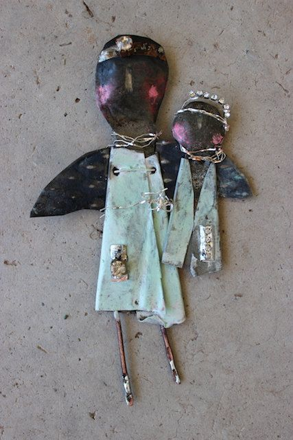 """original mixed media metal from my fire abstract guardian angel 6x4""""  k d milstein fadedwest"""