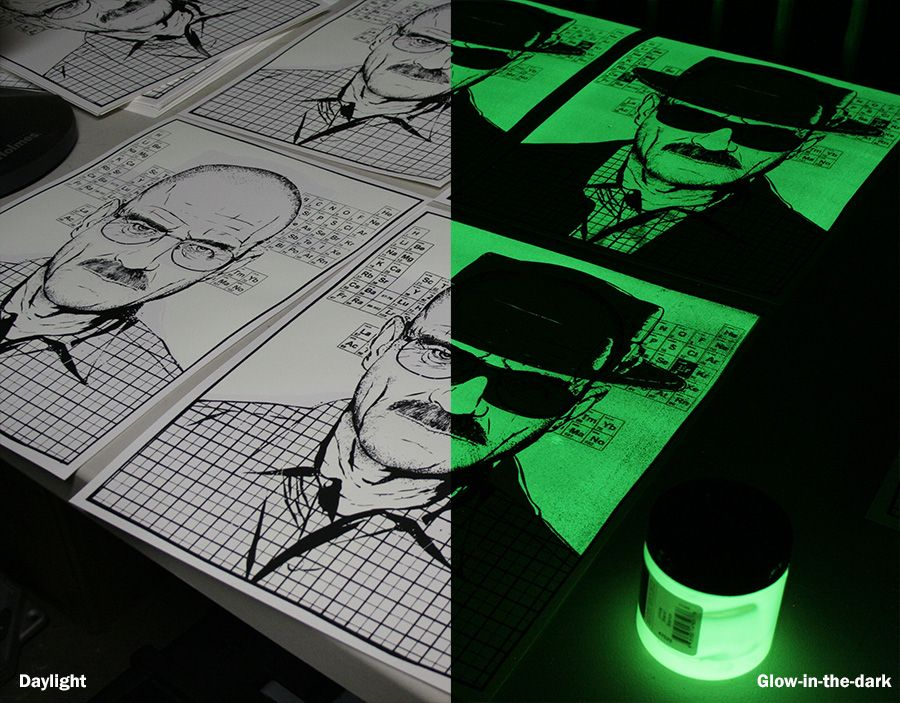 Poster badezimmer ~ Breaking bad glow in the dark poster color printing technique