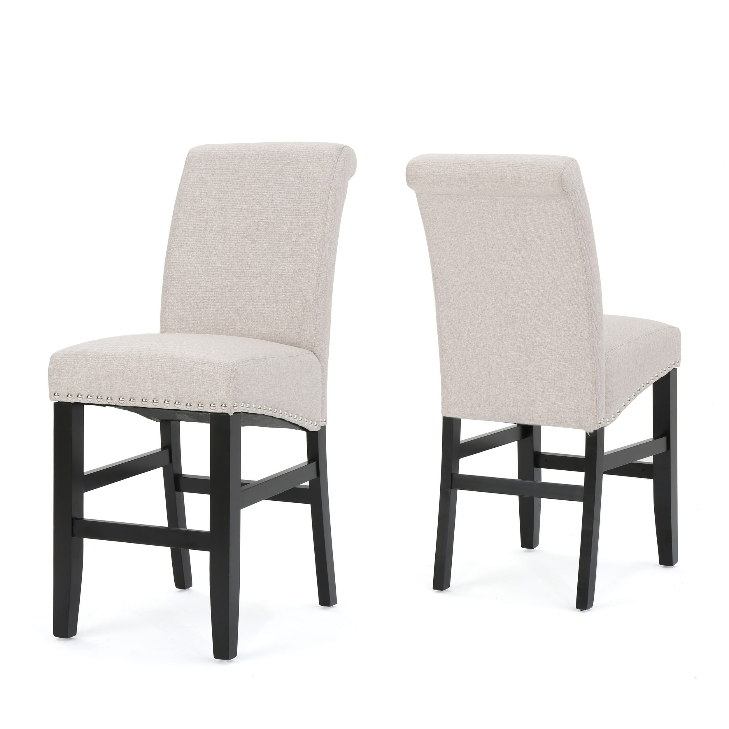 Lisette inch studded fabric backed counter stool with kickplate
