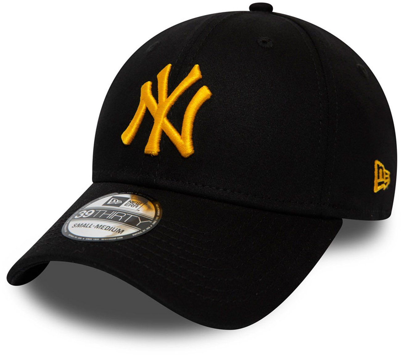 Ny Yankees New Era 3930 League Essential Black Gold Stretch Fit Baseball Cap Fitted Baseball Caps Ny Yankees Yankees Baseball Cap