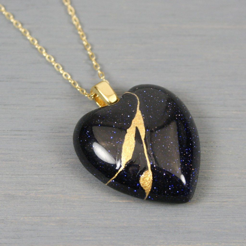 Blue goldstone broken heart pendant with kintsugi repair
