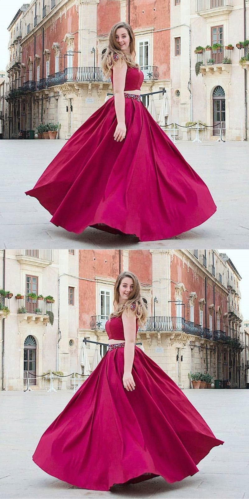 Two piece aline round neck cap sleeves fuchsia prom dress with
