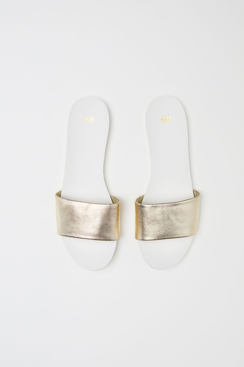 2bb6998ad Mules | White/gold-colored | WOMEN | H&M US | Shoes Shoes Shoes ...