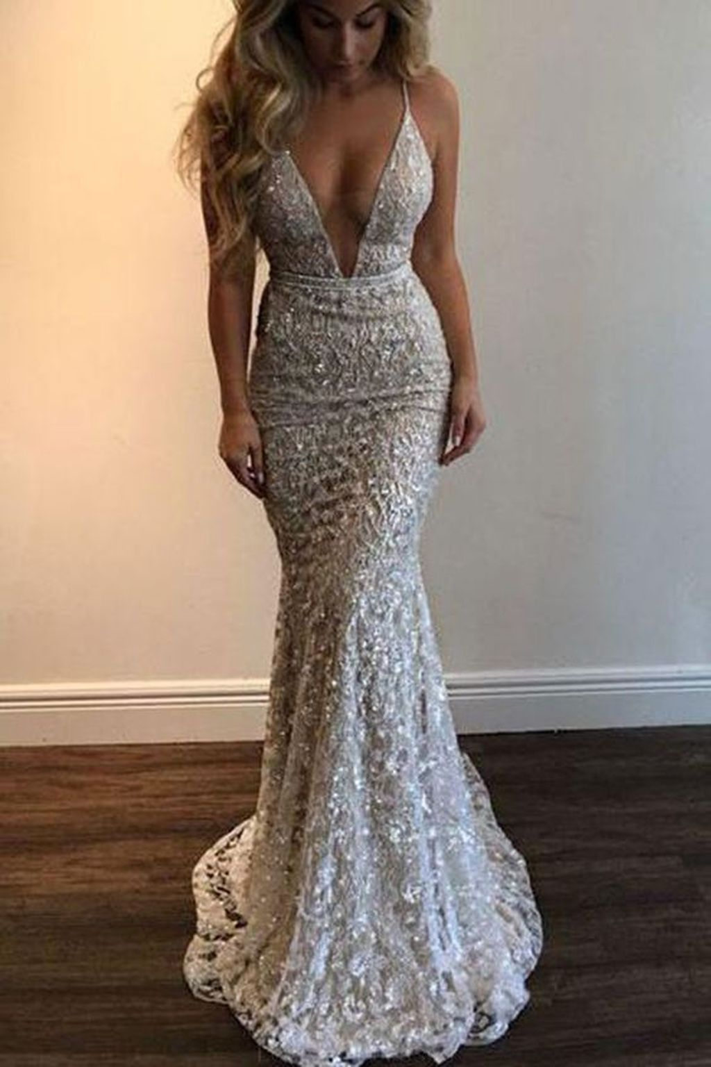 8b555795f791 Mermaid V-Neck Sweep Train Silver Lace Prom Dress with Sequins