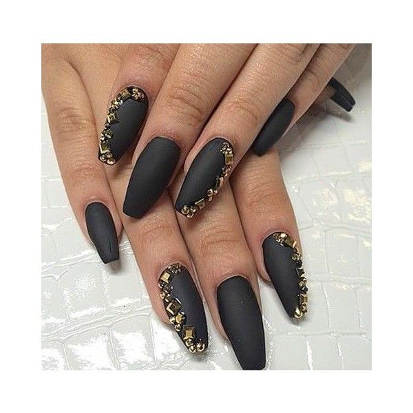 Matte Black Coffin Nails With Gold Rhinestones Liked On Polyvore Featuring