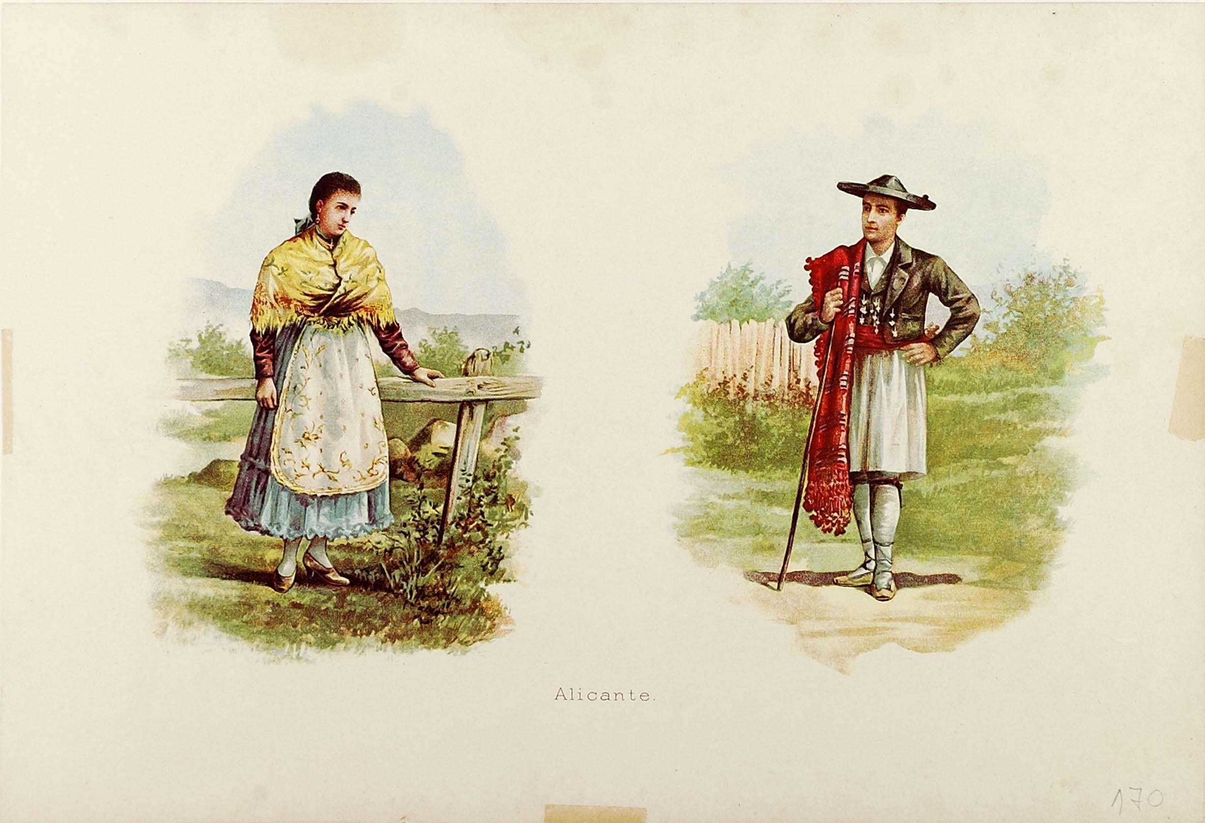 Litografía a color. Dona i home amb vestit tradicional alacantí (entre 1801-1900)
