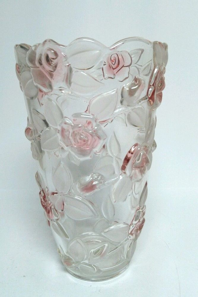 Mikasa Bella Rosa Vase Pink Crystal Frosted Glass Floral Roses 95