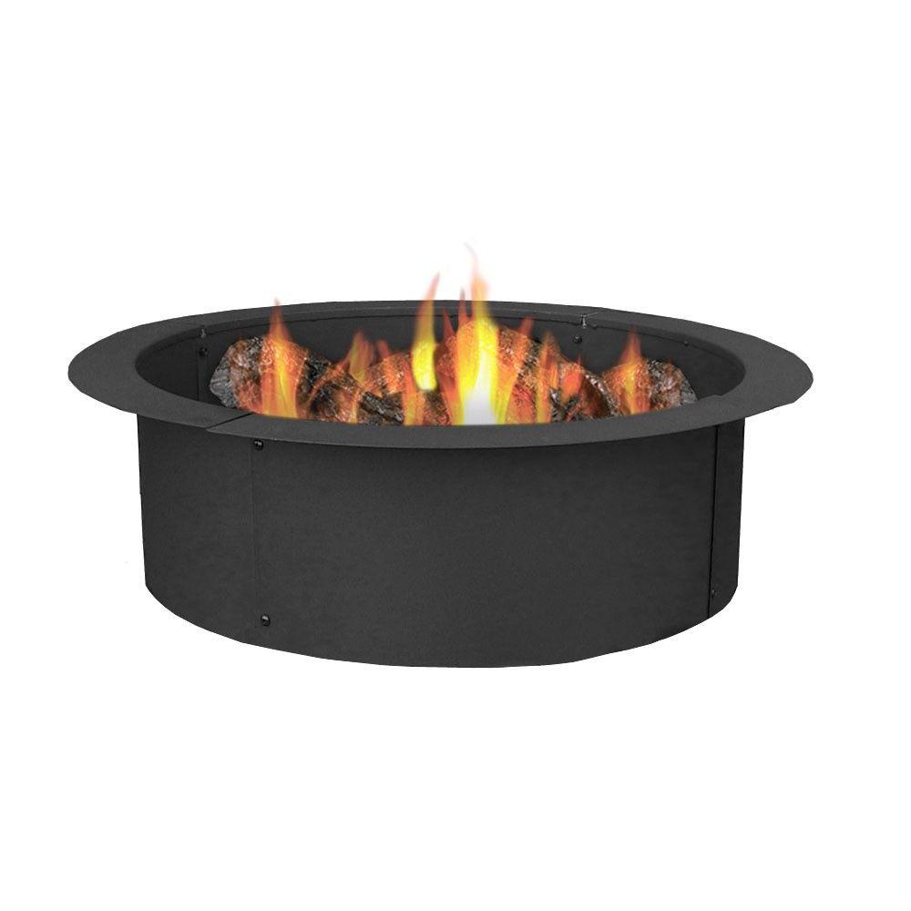 27 Wood Burning Steel Fire Pit Ring Liner Round Sunnydaze