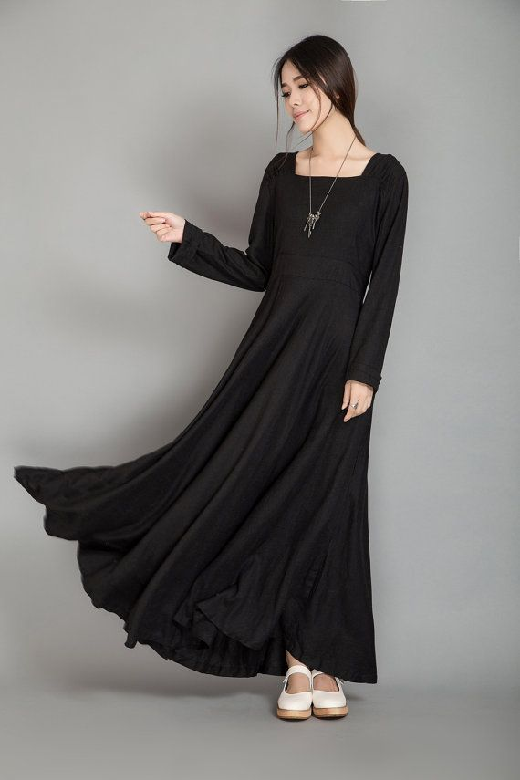 Bodice Waist Black Fall Dress 100 Linen Long Sleeve Maxi Dress