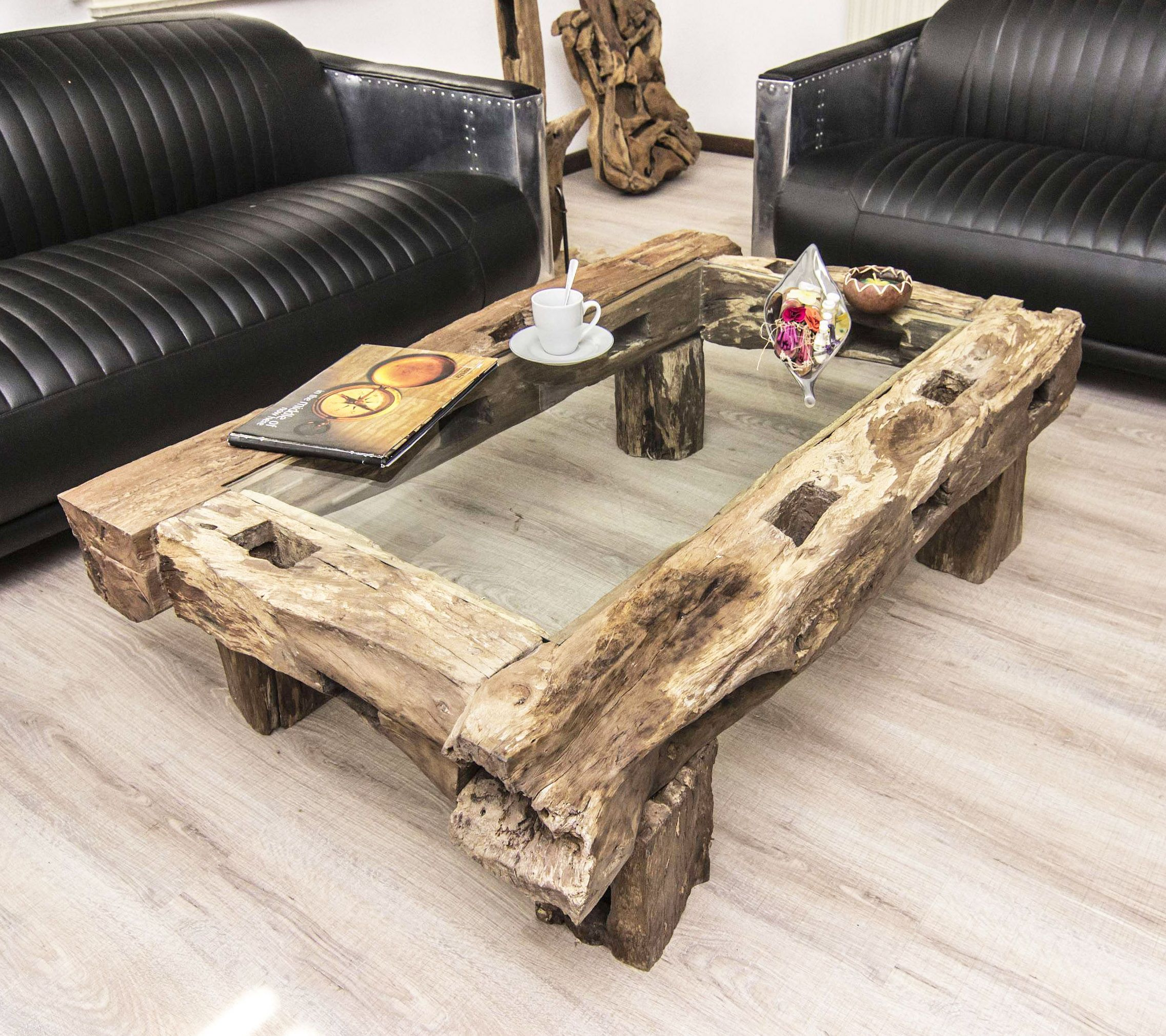 Wood Slab Table - Artisan Shipwreck Exotic Wood Slab Table