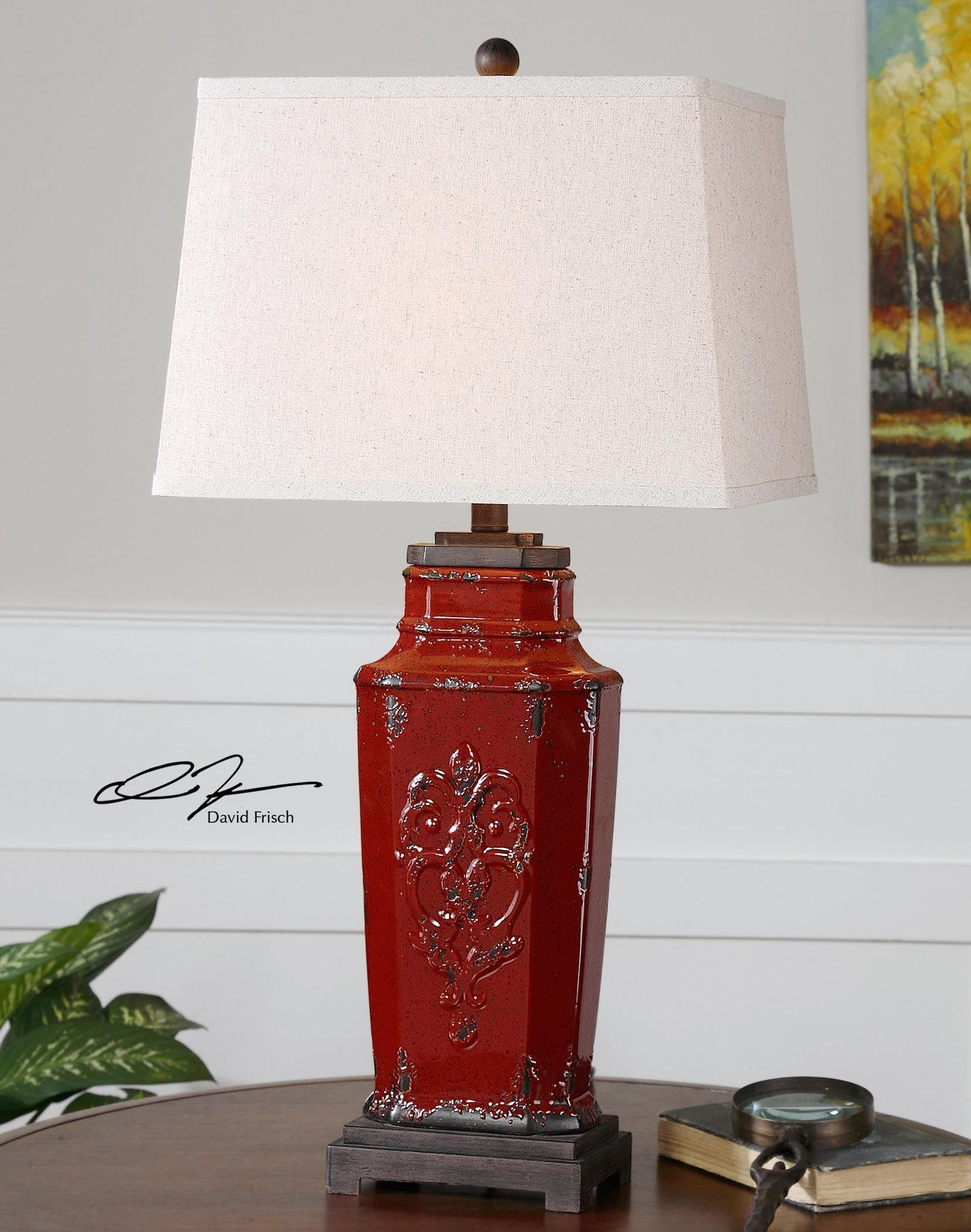French Country Red Distressed Ceramic Old World