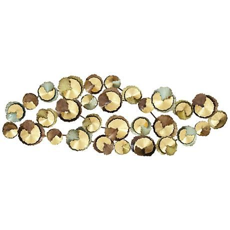 """Metal Wall Accents abstract circles multi-color 62"""" wide metal wall art 
