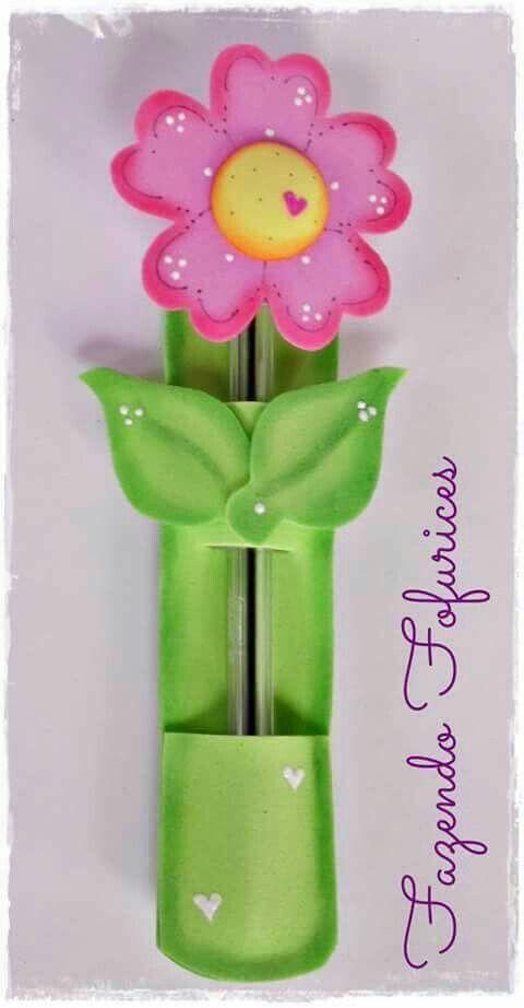 Flor lapicero para mis compañeras.   Manualidades