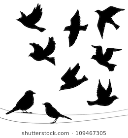 Set Of Birds Silhouettes Flying Sitting Bird Silhouette Tattoos Flying Bird Silhouette Bird Silhouette