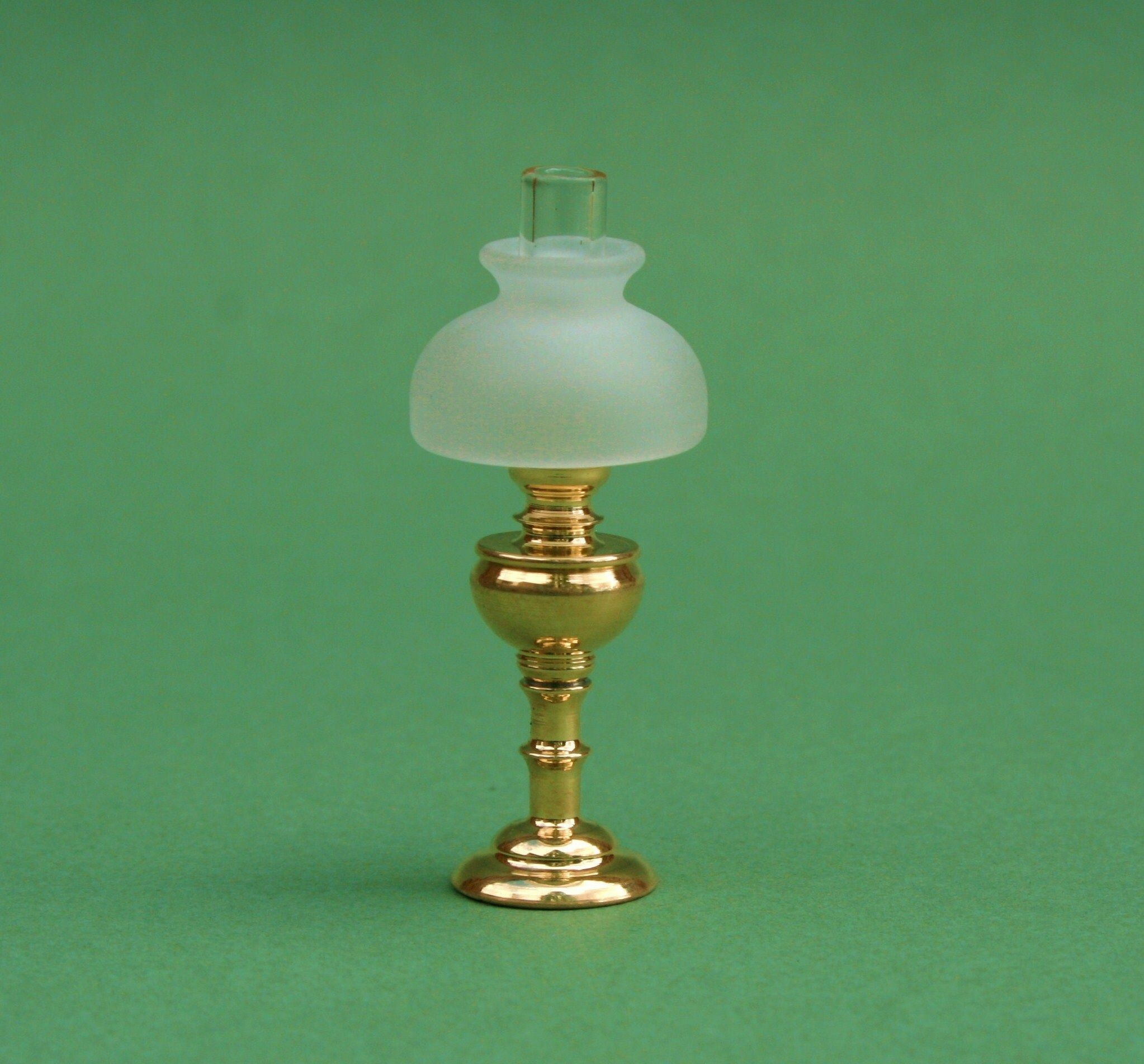 Hand turned brass table lamp finished with clear glass chimney hand turned brass table lamp finished with clear glass chimney and frosted shade 12 volt geotapseo Images