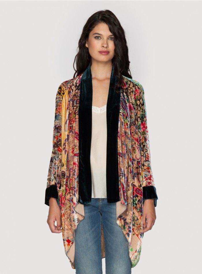 Milla Kimono The Johnny Was MILLA KIMONO jacket is the ultimate boho statement piece for Fall! This kimono jacket is cut for a luxuriously draped fit in our signature printed silk velvet, which features a colorful patchwork print accented by deep royal blue trim along the open draped front and sleeve cuffs.  - Printed Silk Velvet - Open Draped Front, Long Sleeves, High/Low Hemline - Signature Print - Care Instructions: Dry Clean Only