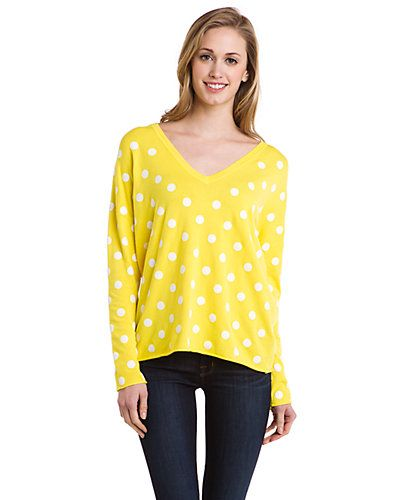 Some of you have to get in on this: Larsen Grey Yellow & Natural Polka Dot Sweater