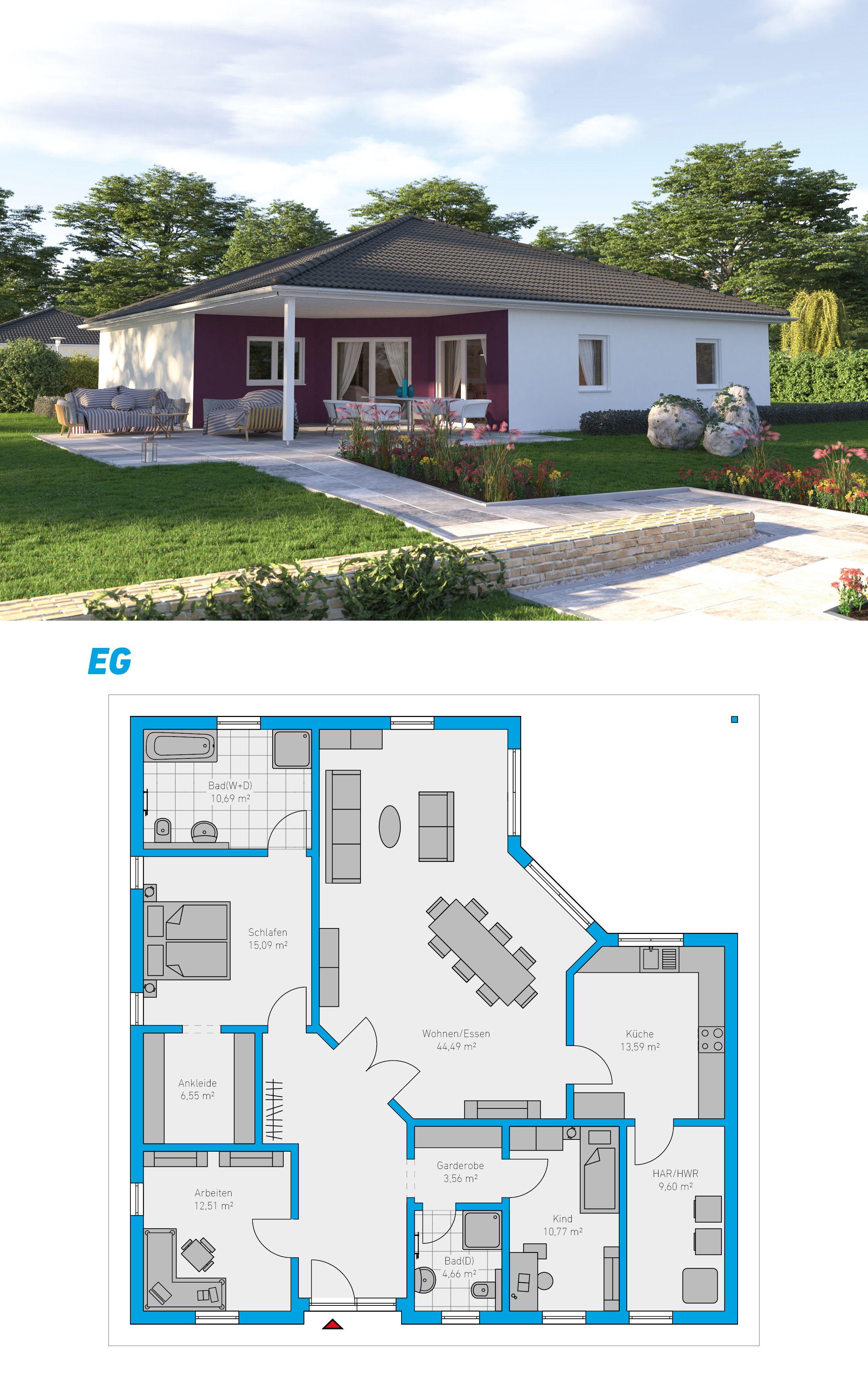 GroBartig Plana 147   Schlüsselfertiges Massivhaus #spektralhaus #ingutenwänden  #Bungalow #Grundriss #Hausbau #