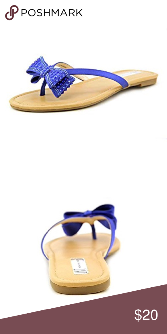 Bisque Sparkly Flip Flops Sandals Lagoon Blue INC Malissa Bow Misty Eclipse