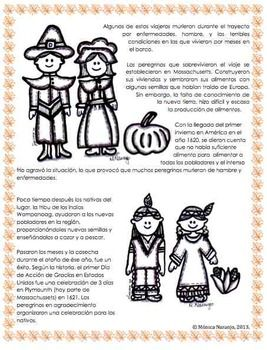 Día De Acción De Gracias Historia Reading Comprehension Narrative Writing Spanish Activities